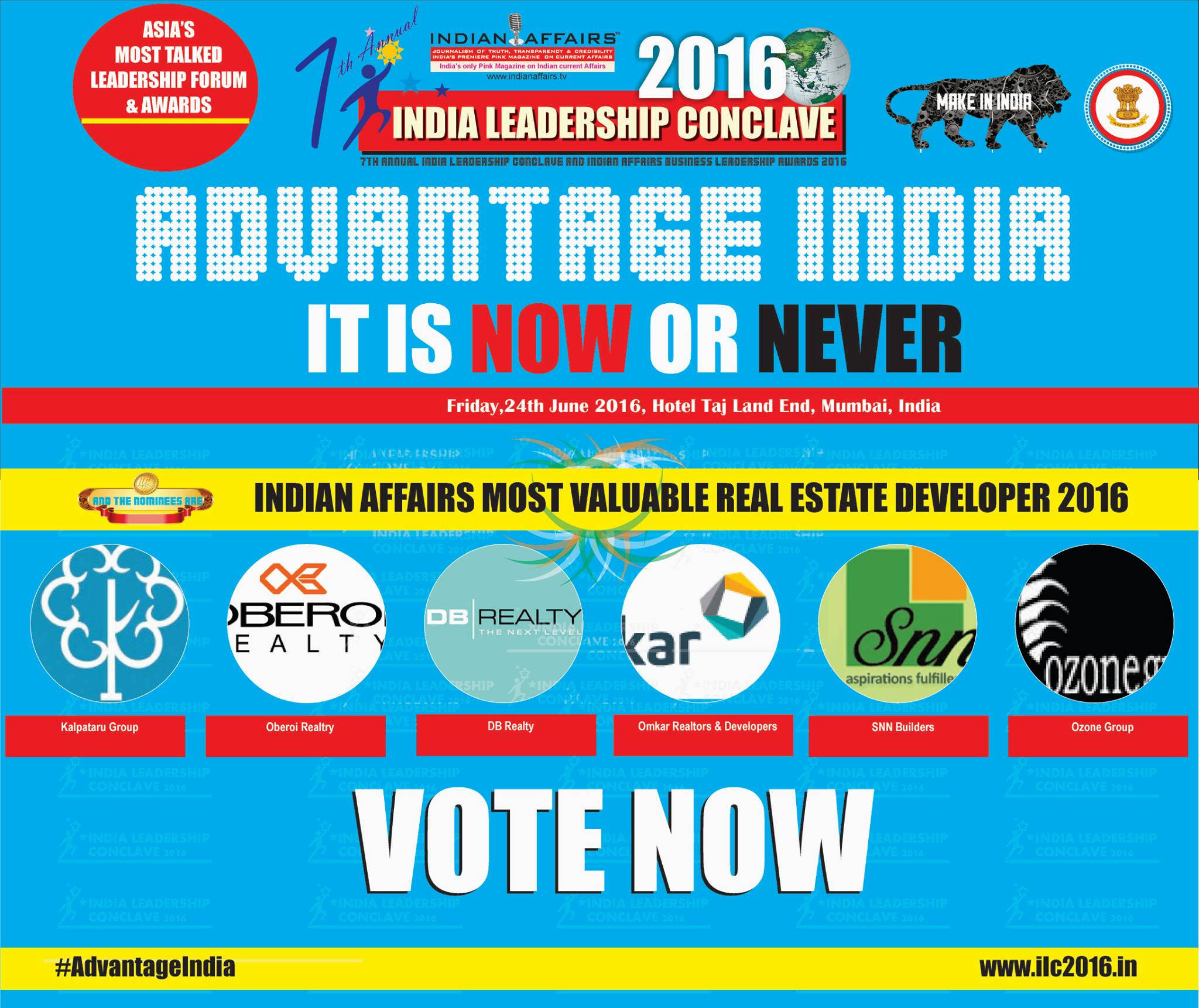 Indian Affairs Most Valuable Real Estate Developer 2016