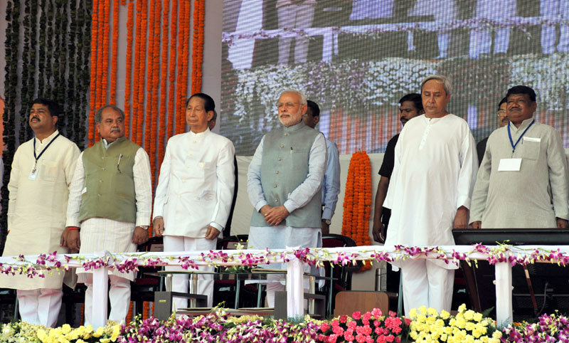 The Prime Minister, Shri Narendra Modi at the dedication ceremony of the MT Expansion of Rourkela Steel Plant to the Nation, in Odisha on April 01, 2015.  The Governor of Odisha, Shri S.C. Jamir and the Chief Minister of Odisha, Shri Naveen Patnaik, the Union Minister for Mines and Steel, Shri Narendra Singh Tomar, the Union Minister for Tribal Affairs, Shri Jual Oram and the Minister of State for Petroleum and Natural Gas (Independent Charge), Shri Dharmendra Pradhan are also seen.