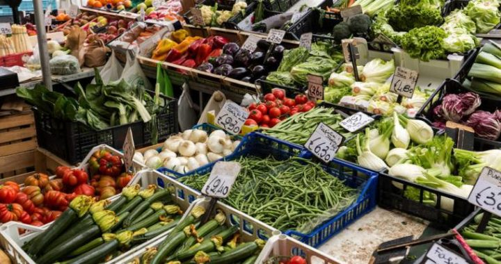 PADUA, ITALY - MAY 3, 2016: Fruit and vegetable market stall in Padua, Veneto, Italy,